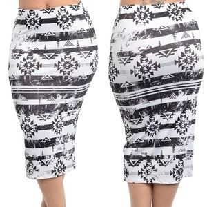plus size fitted pencil skirts printed